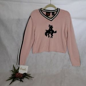 FIVE STAR BY ROPER crop knit pink sweater large